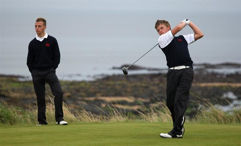 ST. ANDREWS, UNITED KINGDOM - AUGUST 30: Eddie Pepperell of Great Britain & Ireland tees off on the third hole during the foursomes matches of The Jacques Leglise Trophy 2008 between Great Britain & Ireland and the Continent of Europe, held at Kingsbarns Golf Club, on August 29, 2008. in Fife, Scotland.  (Photo by Warren Little/Getty Images)
