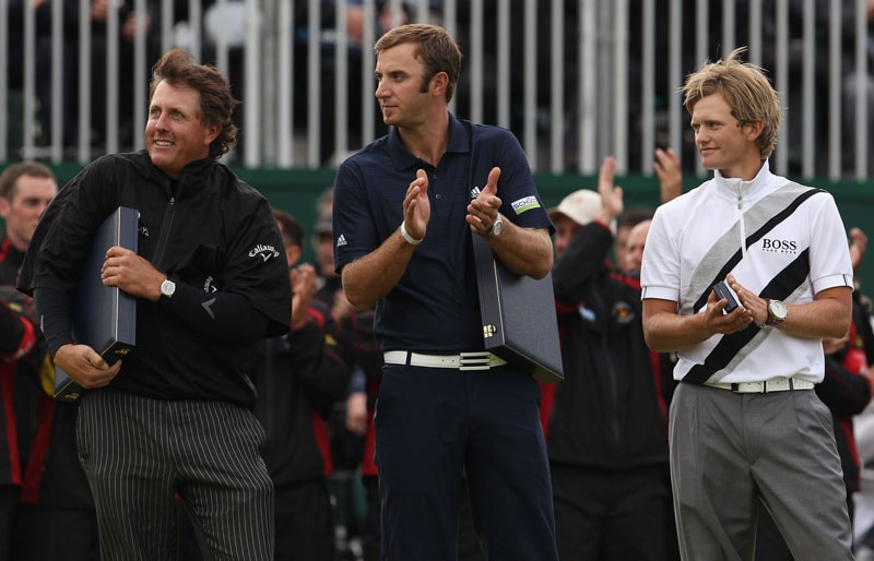 Phil Mickelson, Dustin Johnson and Tom Lewis
