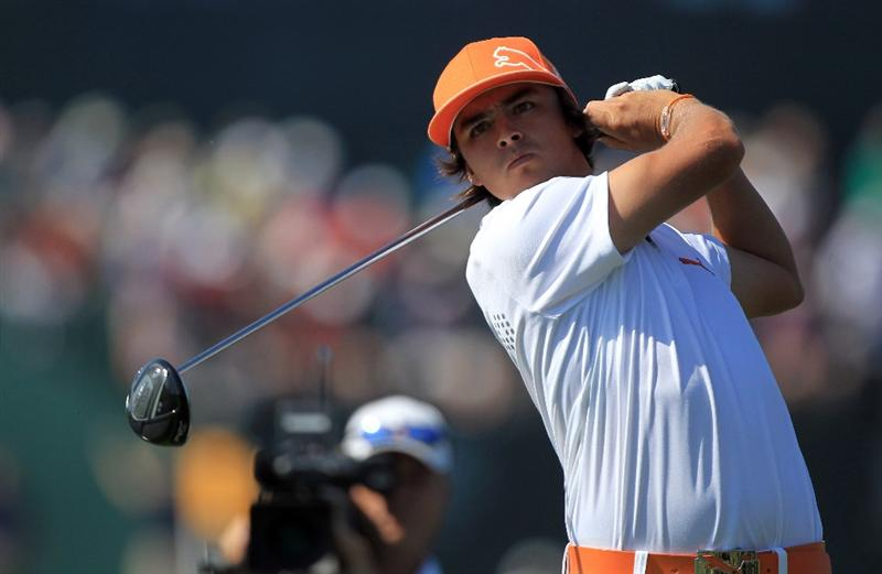 ORLANDO, FL - MARCH 25:  Rickie Fowler watches his tee shot at the 16th hole during the second round of the 2011 Arnold Palmer Invitational presented by Mastercard at the Bay Hill Lodge and Country Club on March 25, 2011 in Orlando, Florida.  (Photo by David Cannon/Getty Images)