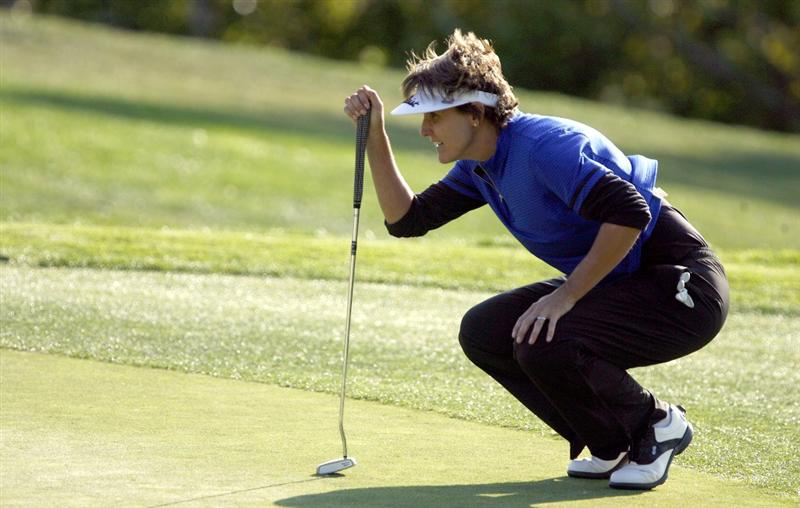 DANVILLE, CA - OCTOBER 10: Michele Redman lines up a putt on the 5th hole during the second round of the LPGA Longs Drugs Challenge at the Blackhawk Country Club October 10, 2008 in Danville, California. (Photo by Max Morse/Getty Images)
