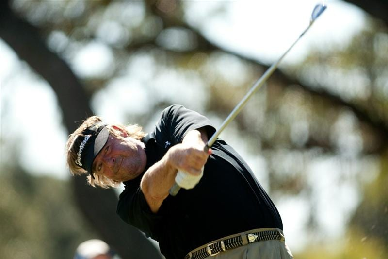 SAN ANTONIO, TX - OCTOBER 31: Steve Lowery follows through on a tee shot during the final round of the AT&T Championship at Oak Hills Country Club on October 31, 2010 in San Antonio, Texas. (Photo by Darren Carroll/Getty Images)