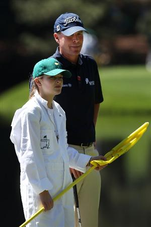 AUGUSTA, GA - APRIL 06:  Steve Stricker waits with his daughter Bobbi during the Par 3 Contest prior to the 2011 Masters Tournament at Augusta National Golf Club on April 6, 2011 in Augusta, Georgia.  (Photo by Andrew Redington/Getty Images)