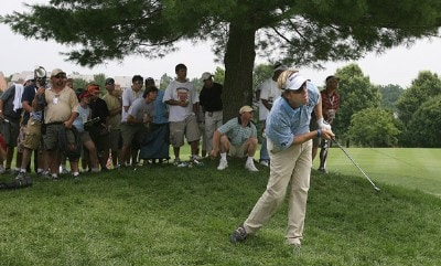 Brett Quigley of Rhode Island in trouble on 18 fairway  during third round at TPC Avenel on Saturday, June 24, 2006, in Potomac, Maryland.Photo by Jim Rogash/WireImage.com