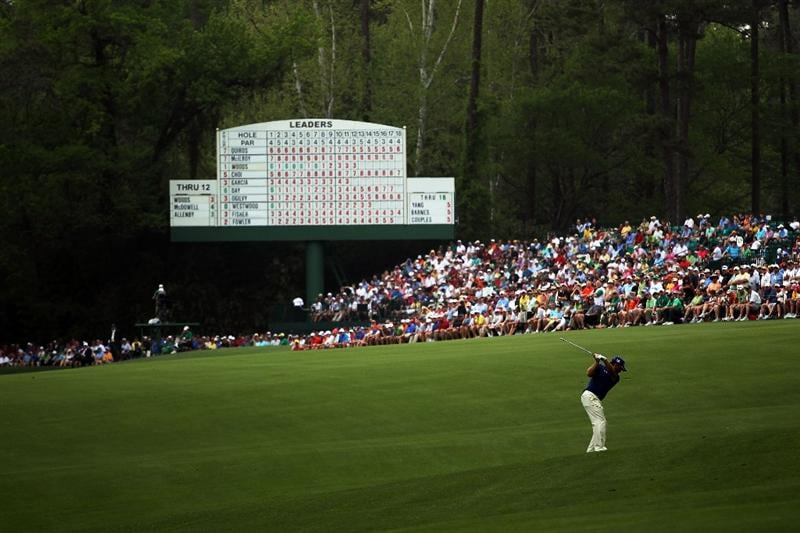 AUGUSTA, GA - APRIL 08:  Graeme McDowell of Northern Ireland hits his second shot on the 13th hole during the second round of the 2011 Masters Tournament at Augusta National Golf Club on April 8, 2011 in Augusta, Georgia.  (Photo by Jamie Squire/Getty Images)
