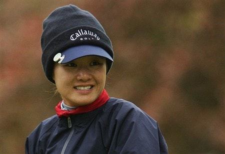 CORNING, NY - MAY 22:   Na On Min of South Korea watches her tee shot on the ninth hole during the first round of the LPGA Corning Classic at Corning Country Club May 22, 2008 in Corning, New York.  (Photo by Kyle Auclair/Getty Images)