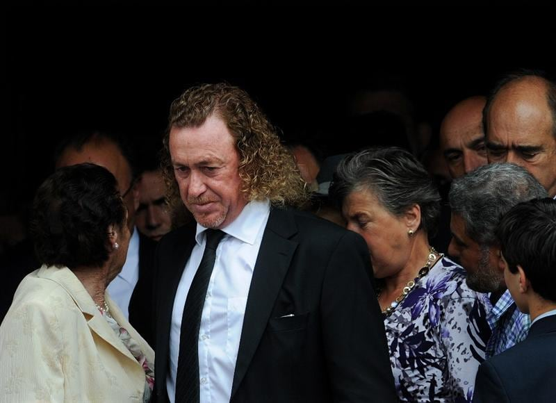 PEDRENA, SPAIN - MAY 11:  Golfer Miguel Angel Jimenez of Spain leaves the funeral service held for legendary Spanish golfer Seve Ballesteros on May 11, 2011 in Pedrena, Spain. Top-ranked golf players have joined family members and friends to pay their last respects to the late golf great, who died on May 7, 2011 from complications arising from a brain tumor, in his home town parish church.  (Photo by Jasper Juinen/Getty Images)