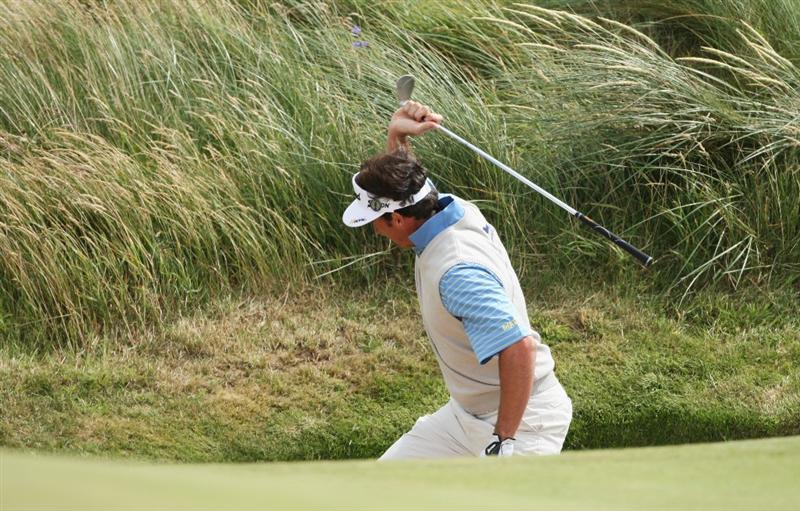 TURNBERRY, SCOTLAND - JULY 18:  Gonzalo Fernandez-Castano of Spain reacts angrily after hitting a bunker shot on the 15th hole during round three of the 138th Open Championship on the Ailsa Course, Turnberry Golf Club on July 18, 2009 in Turnberry, Scotland.  (Photo by Andrew Redington/Getty Images)