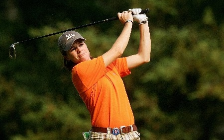 CORNING, NY - MAY 25:  Jamie Hullett hits her second shot on the ninth hole during the second round of the Corning Classic at the Corning Country Club on May 25, 2007 in Corning, New York.  (Photo by Kyle Auclair/Getty Images)