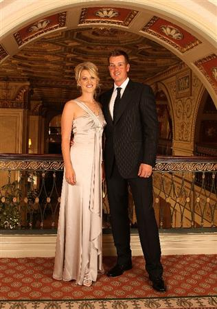 LOUISVILLE, KY - SEPTEMBER 17:  Henrik Stenson (R) of Sweden and the European Ryder Cup team poses with his wife Emma at the Brown Hotel prior to the start of the 2008 Ryder Cup September 17, 2008 in Louisville, Kentucky. (Photo by David Cannon/Getty Images)