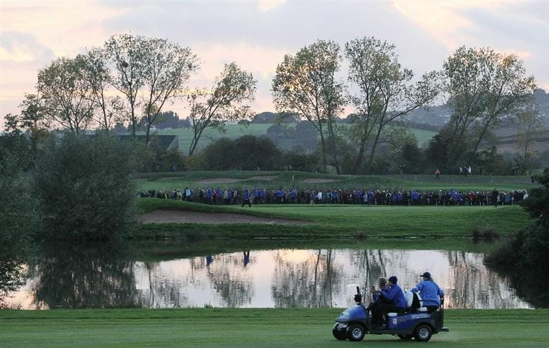 NEWPORT, WALES - OCTOBER 01:  General View as Europe Team Captain Colin Montgomerie rides in a buggy during the Morning Fourball Matches during the 2010 Ryder Cup at the Celtic Manor Resort on October 1, 2010 in Newport, Wales.  (Photo by Jamie Squire/Getty Images)
