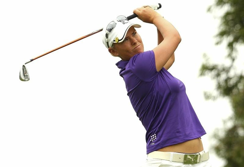 MELBOURNE, AUSTRALIA - FEBRUARY 03:  Lee-Anne Pace of South Africa plays a shot during day one of the Women's Australian Open at The Commonwealth Golf Club on February 3, 2011 in Melbourne, Australia.  (Photo by Lucas Dawson/Getty Images)