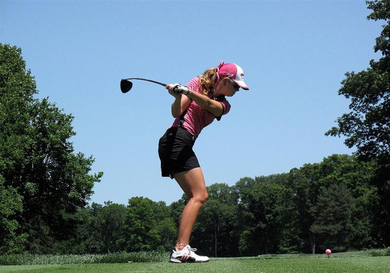 BETHLEHEM, PA - JULY 12:  Paula Creamer hits her tee shot on the fifth hole during the final round of the 2009 U.S. Women's Open at the Saucon Valley Country Club on July 12, 2009 in Bethlehem, Pennsylvania.  (Photo by Scott Halleran/Getty Images)