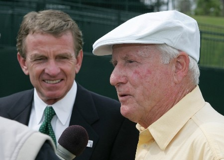 PGA TOUR commissioner Tim Finchem and former PGA commissioner Deane R. Beman  commemerate the Drive to a Billion countdown during practive for THE PLAYERS championship at the Tournament Players Club at Sawgrass in Ponte Vedra Beach, Florida on March 23, 2005.