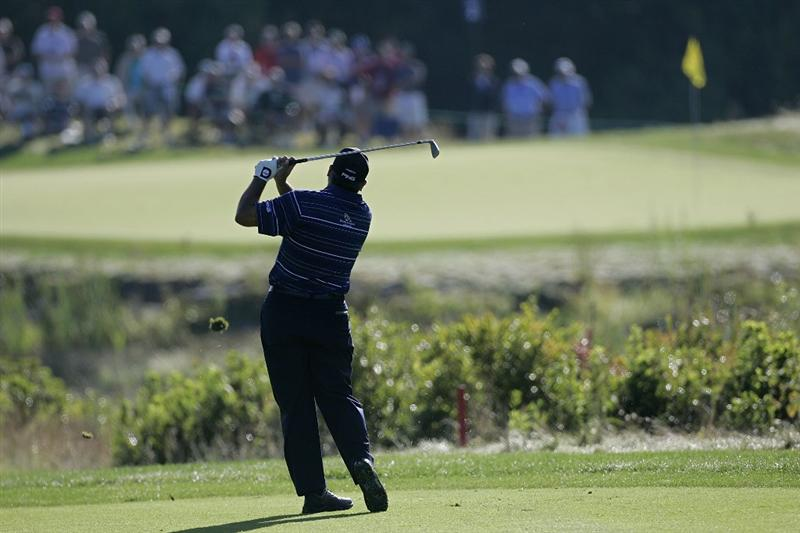 NORTON, MA - SEPTEMBER 04:  Angel Cabrera of Argentina plays a shot during the first round of the Deutche Bank Championship at TPC Boston held on September 4, 2009 in Norton, Massachusetts.  (Photo by Michael Cohen/Getty Images)