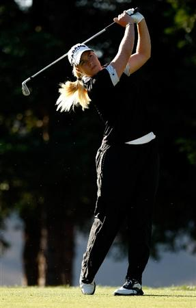DANVILLE, CA - SEPTEMBER 25:  Brittany Lincicome tees off on the 12th hole during the second round of the CVS/pharmacy LPGA Challenge at Blackhawk Country Club on September 25, 2009 in Danville, California.  (Photo by Jonathan Ferrey/Getty Images)