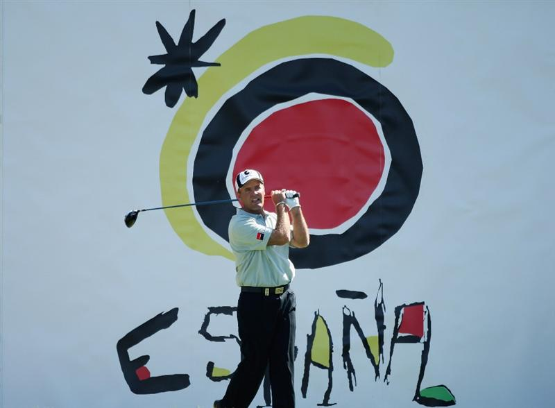 GIRONA, SPAIN - MAY 02:  Thomas Levet of France tees off on the 15th hole during the third round of the Open de Espana at the PGA Golf Catalunya on May 2, 2009 in Girona, Spain.  (Photo by Warren Little/Getty Images)