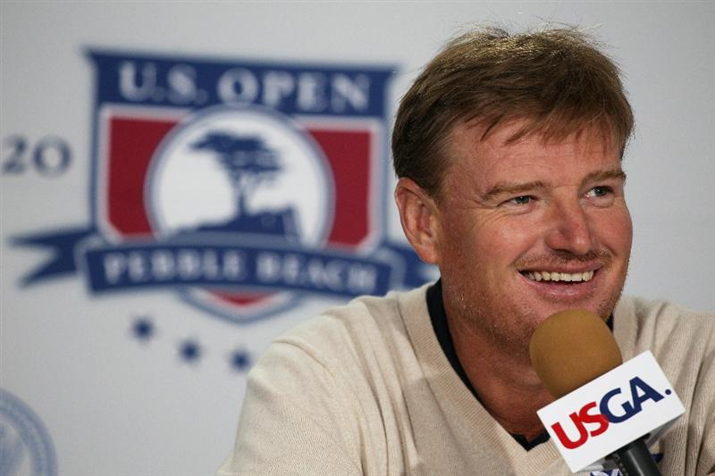 PEBBLE BEACH, CA - JUNE 15:  Ernie Els of South Africa is interviewed during a press conference prior to the start of the 110th U.S. Open at Pebble Beach Golf Links on June 15, 2010 in Pebble Beach, California.  (Photo by Scott Halleran/Getty Images)