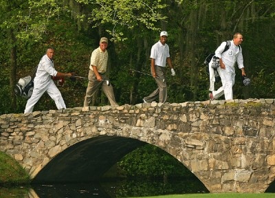 Mark O'Meara and Tiger Woods during practice for the 2007  Masters at the Augusta National Golf Club in Augusta, Georgia, on April 3, 2007. The 2007 Masters - Practice - April 3, 2007Photo by Mike Ehrmann/WireImage.com