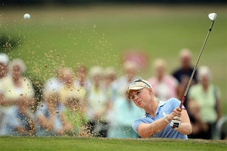 SUNNINGDALE, UNITED KINGDOM - JULY 31:  Morgan Pressel of the USA plays her 3rd shot at the 18th hole during the first round of the 2008  Ricoh Women's British Open Championship held on the Old Course at Sunningdale Golf Club, on July 31, 2008 in Sunningdale, England.  (Photo by David Cannon/Getty Images)