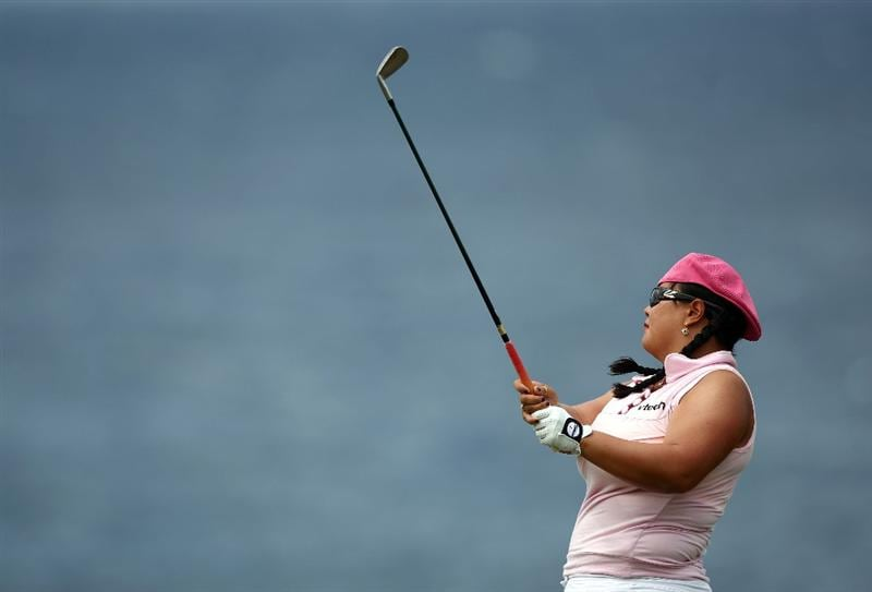 KAPALUA, HI - OCTOBER 17:  Christina Kim tees off the fifth hole during the second round of the Kapalua LPGA Classic on October 17, 2008 at the Bay Course in Kapalua, Maui, Hawaii.  (Photo by Donald Miralle/Getty Images)