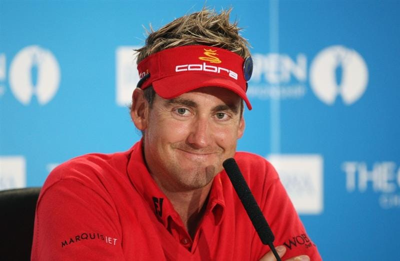 TURNBERRY, SCOTLAND - JULY 14:   Ian Poulter of England smiles during a press conference during a practice round prior to the 138th Open Championship on the Ailsa Course, Turnberry Golf Club on July 14, 2009 in Turnberry, Scotland.  (Photo by David Cannon/Getty Images)