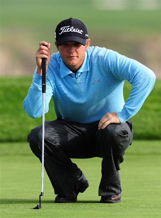 PEBBLE BEACH, CA - FEBRUARY 12:  Matt Jones of Australia lines up his putt on the sixth hole during round two of the AT&T Pebble Beach National Pro-Am at Pebble Beach Golf Links on February 12, 2010 in Pebble Beach, California.  (Photo by Stuart Franklin/Getty Images)