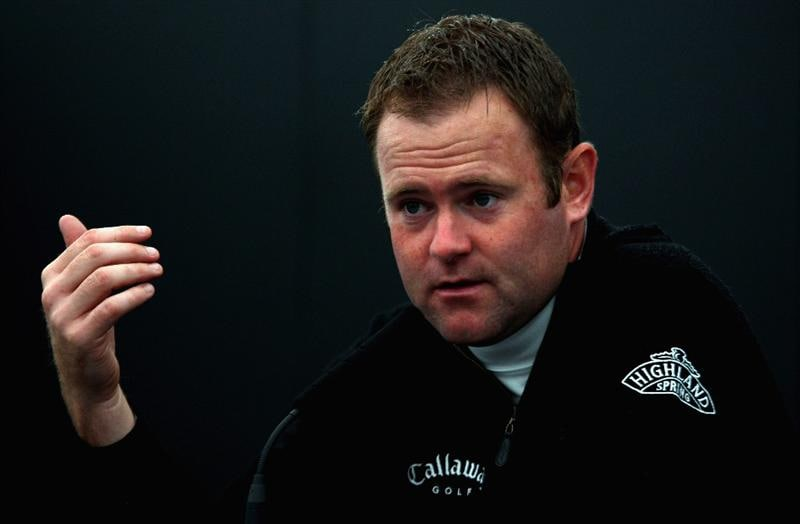 PERTH, UNITED KINGDOM - AUGUST 26:  Alastair Forsyth of Scotland talks to the media during practice for The Johnnie Walker Championship at Gleneagles on August 26, 2008 at the Gleneagles Hotel and Resort in Perthshire, Scotland.  (Photo by Andrew Redington/Getty Images)