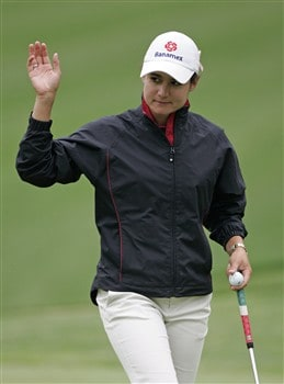 WILLIAMSBURG, VA - MAY 8: Lorena Ochoa of Mexico acknowledges the gallery on the 7th hole after making her eagle putt during the first round of the Michelob Ultra Open at Kingsmill Resort & Spa on May 8, 2008 in Williamsburg, Virginia. (Photo by Hunter Martin/Getty Images)