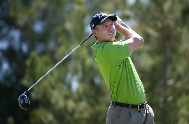 SAN JACINTO, CA - OCTOBER 03: Derek Lamely makes a tee shot on the third hole during the third round of the 2009 Soboba Classic at The Country Club at Soboba Springs on October 3, 2009 in San Jacinto, California.  (Photo by Robert Laberge/Getty Images)