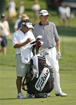 BETHESDA, MD - JULY 3: Davis Love III waits to hit his second shot on the 4th hole during the first round of the AT&T National at Congressional Country Club on July 3, 2008 in Bethesda, Maryland. (Photo by Hunter Martin/Getty Images)