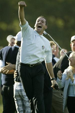 THE BELFRY - 29 SEPTEMBER:  Sergio Garcia of Europe celebrates victory after the final day singles of the 34th Ryder Cup matches between Europe and the USA at the De Vere Belfry in Sutton Coldfield, England on September 29, 2002. Europe won 15.5 to 12.5. (photo by Andrew Redington/Getty Images)