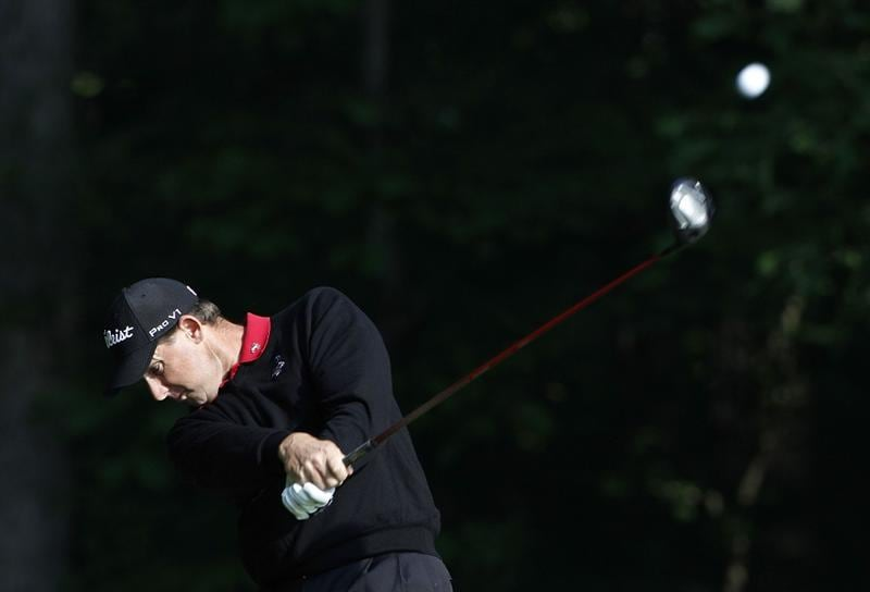 ATHENS, GA - MAY 06:  Darron Stiles hits a drive during the second round of the Stadion Classic at UGA held at the University of Georgia Golf Course on May 6, 2011 in Athens, Georgia.  (Photo by Michael Cohen/Getty Images)