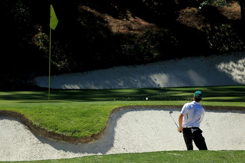 AUGUSTA, GA - APRIL 07:  Martin Laird of Scotland watches his bunker shot on the 12th hole during the first round of the 2011 Masters Tournament at Augusta National Golf Club on April 7, 2011 in Augusta, Georgia.  (Photo by David Cannon/Getty Images)