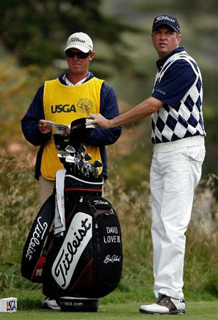 PEBBLE BEACH, CA - JUNE 20:  Davis Love III waits with his caddie Jeff Weber on the second tee during the final round of the 110th U.S. Open at Pebble Beach Golf Links on June 20, 2010 in Pebble Beach, California.  (Photo by Donald Miralle/Getty Images)