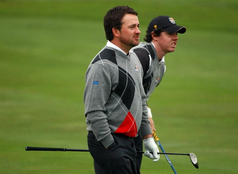 NEWPORT, WALES - SEPTEMBER 28:   Graeme McDowell (L) and Rory McIlroy of Europe watch a shot during a practice round prior to the 2010 Ryder Cup at the Celtic Manor Resort on September 28, 2010 in Newport, Wales.  (Photo by Scott Halleran/Getty Images)