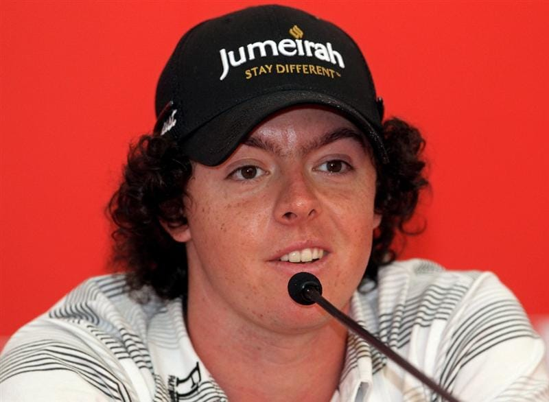 ABU DHABI, UNITED ARAB EMIRATES - JANUARY 19:  Rory McIlroy of Northern Ireland talks to the media during his press conference at The Abu Dhabi Golf Championship at Abu Dhabi Golf Club on January 19, 2010 in Abu Dhabi, United Arab Emirates.  (Photo by Andrew Redington/Getty Images)