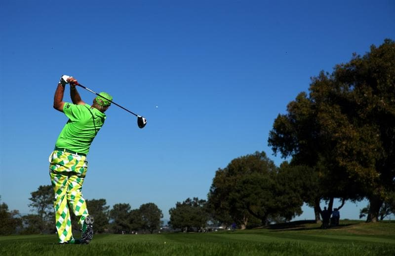 LA JOLLA, CA - JANUARY 28:   John Daly tees off the 15th hole during the second round of the Farmers Insurance Open at Torrey Pines on January 28, 2011 in La Jolla, California. (Photo by Donald Miralle/Getty Images)