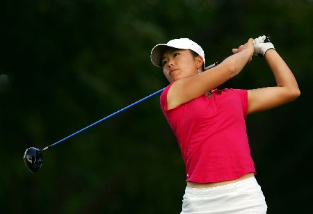 KAPOLEI, HI - FEBRUARY 24:  Angela Park hits a tee shot on the 17th hole during the third round of the Fields Open at Ko Olina Golf Club on February 24, 2007 in Kapolei, Hawaii.  (Photo by Harry How/Getty Images)