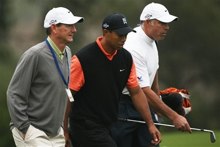 SAN DIEGO - JUNE 10:  (L to R) Swing coach Hank Haney,Tiger Woods and caddie Steve Williams walk up a fairway during the second day of previews to the 108th U.S. Open at the Torrey Pines Golf Course (South Course) on June 10, 2008 in San Diego, California.  (Photo by Travis Lindquist/Getty Images)