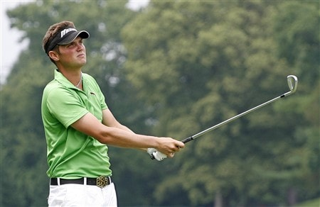 BETHESDA, MD - JULY 5: Jeff Overton hits his second shot on the 5th hole during the third round of the AT&T National at Congressional Country Club on July 5, 2008 in Bethesda, Maryland. (Photo by Hunter Martin/Getty Images)