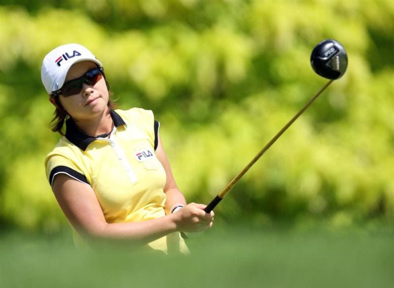 SINGAPORE - MARCH 06:  Eun-Hee Ji of South Korea on the par four 6th tee during the second round of HSBC Women's Champions at the Tanah Merah Country Club on March 6, 2009 in Singapore.  (Photo by Ross Kinnaird/Getty Images)