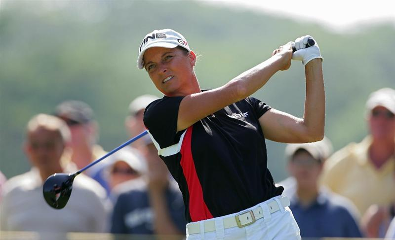 GALLOWAY, NJ - JUNE 19:  Sherri Steinhauer watches her drive  during the second round of the ShopRite LPGA Classic held at Dolce Seaview Resort (Bay Course) on June 19, 2010 in Galloway, New Jersey.  (Photo by Michael Cohen/Getty Images)