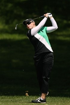 CLIFTON, NJ - MAY 17:  Morgan Pressel hits her second shot on the second hole during the second round of the Sybase Classic presented by ShopRite at the Upper Montclair Country Club May 17, 2008 in Clifton, New Jersey.  (Photo by Travis Lindquist/Getty Images)