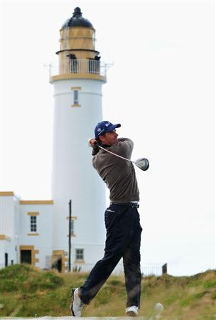 TURNBERRY, SCOTLAND - JULY 14:  Padraig Harrington of Ireland tees off during a practice round prior to the 138th Open Championship on the Ailsa Course, Turnberry Golf Club on July 14, 2009 in Turnberry, Scotland.  (Photo by Stuart Franklin/Getty Images)
