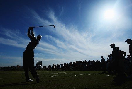 CARNOUSTIE, UNITED KINGDOM - JULY 17:  (EDITORS NOTE: A POLARIZING FILTER WAS USED IN THE CREATION OF THIS IMAGE) Tiger Woods of the United States of America tees off at the 16th hole during previews to The 136th Open Championship at the Carnoustie Golf Club on July 17, 2007 in Carnoustie, Scotland.  (Photo by Stuart Franklin/Getty Images)