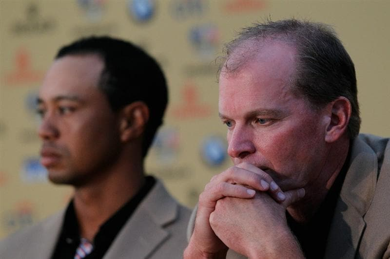 NEWPORT, WALES - OCTOBER 04:  USA Team members (L-R) Tiger Woods and Steve Stricker face the media following Europe's 14.5 to 13.5 victory over the USA at the 2010 Ryder Cup at the Celtic Manor Resort on October 4, 2010 in Newport, Wales.  (Photo by Sam Greenwood/Getty Images)