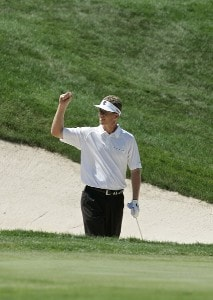 John Senden reacts to sealing his first win on the 18th hole during the final round of the John Deere Classic at TPC Deere Run in Silvis, Illinois on July 16, 2006.Photo by Michael Cohen/WireImage.com