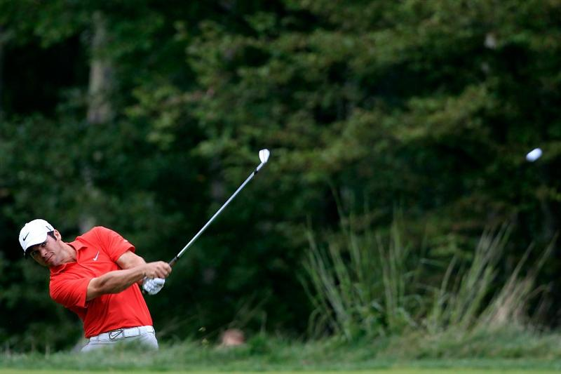 NORTON, MA - SEPTEMBER 03:  Paul Casey of England hits a shot from the fifth hole during the first round of the Deutsche Bank Championship at TPC Boston on September 3, 2010 in Norton, Massachusetts.  (Photo by Michael Cohen/Getty Images)