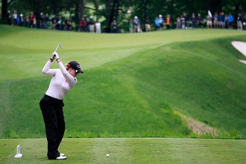 GLADSTONE, NJ - MAY 22:  Cristie Kerr hits her tee shot on the eighth hole during her match against  Suzann Pettersen of Norway in the final of the Sybase Match Play Championship at Hamilton Farm Golf Club on May 22, 2011 in Gladstone, New Jersey.  (Photo by Chris Trotman/Getty Images)