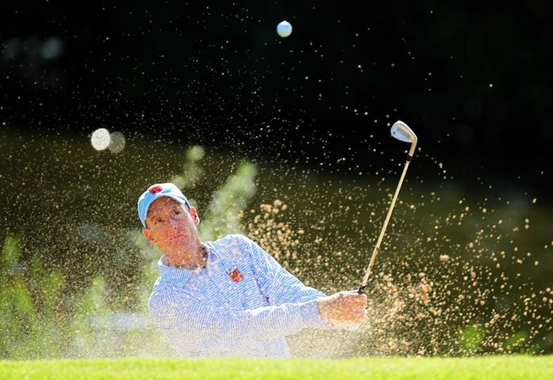 NEWPORT, WALES - SEPTEMBER 28:  Jim Furyk of the USA hits a bunker shot during a practice round prior to the 2010 Ryder Cup at the Celtic Manor Resort on September 28, 2010 in Newport, Wales.  (Photo by Andy Lyons/Getty Images)